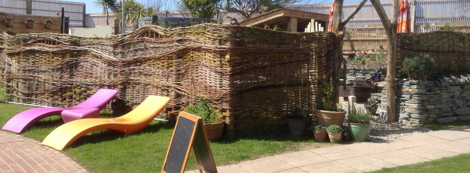 Wicker woven fence